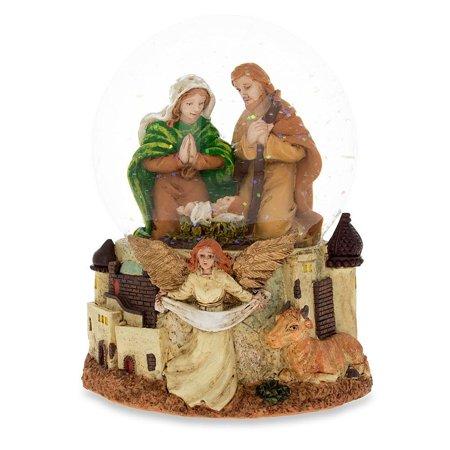 Nativity Scene with Guardian Angel Musical Snow Globe