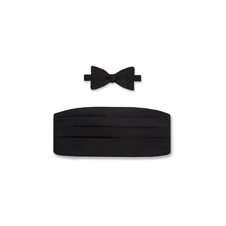 Gitman Bros Big and Tall Silk Black Satin Bow Tie & Cummerbund Set