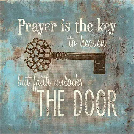 Prayer Is The Key Distressed Burlap Religious Typography Painting Blue & Tan Canvas Art by Pied Piper Creative (Initial S Burlap Picture)