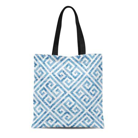 LADDKE Canvas Tote Bag Border Water Greek Key Pattern Meander Camo Mall Urban Reusable Shoulder Grocery Shopping Bags (Key West Mall)