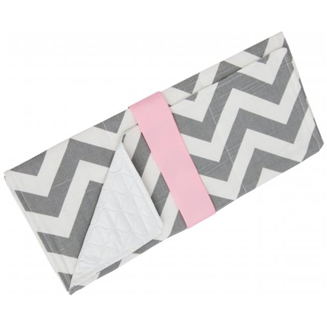 Caught Ya Lookin' S44-334-R5 Changing Pad, Gray & Pink Chevron
