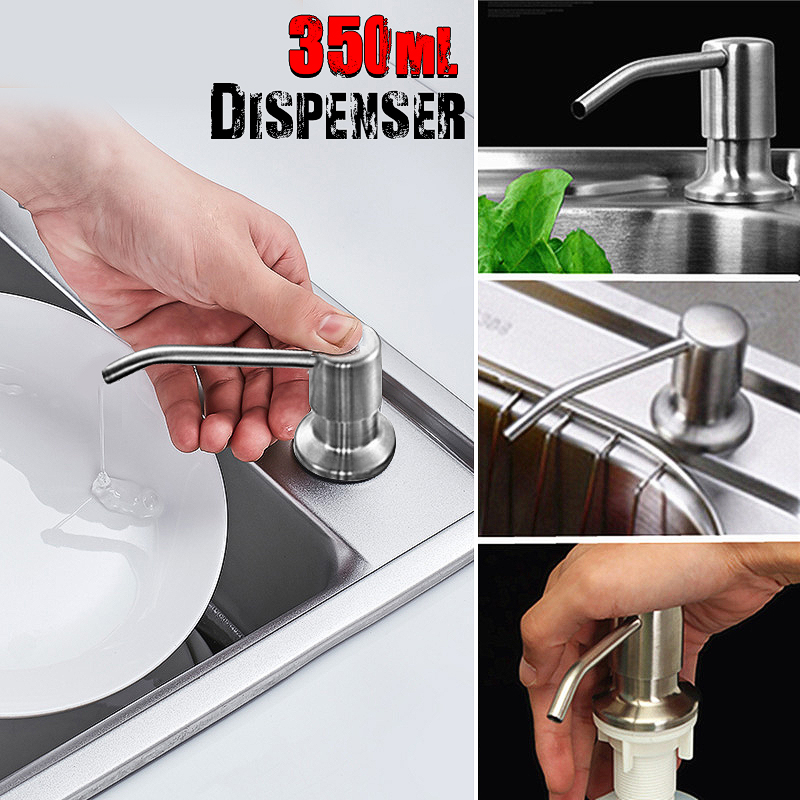 350ml Bathroom Soap Dispenser Kitchen Sink Liquid Brushed Nickel Stainless Steel Head Bottle