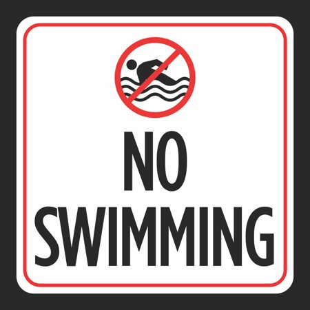 Aluminum No Swimming Print Picture Red White Black Notice Swim Pool Safety Notice Outdoor Signs Commercial Metal 12X12
