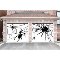 The Holiday Aisle 2 Piece Spiders Halloween Garage Door Mural Set
