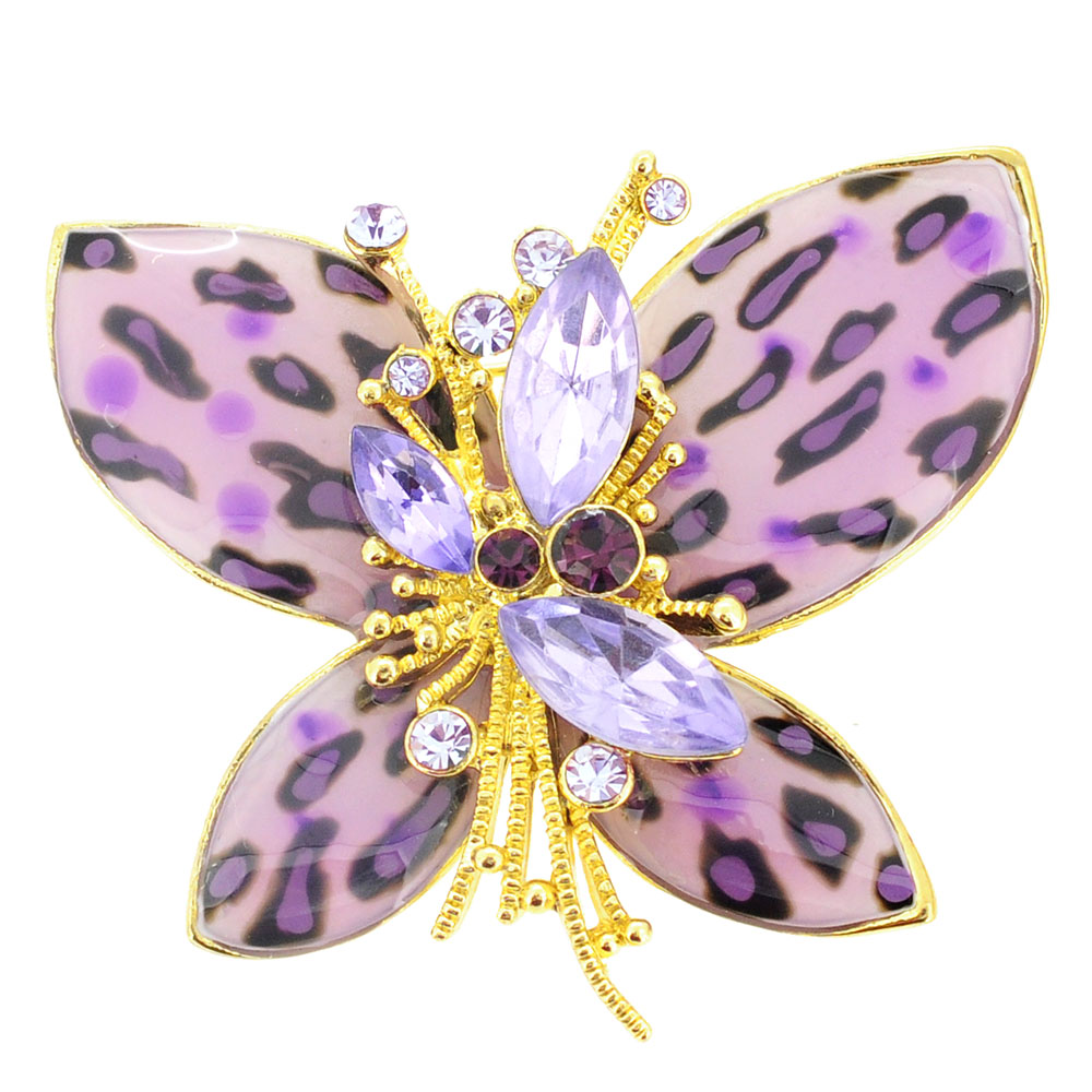 Purple Amethyst CHeetah Butterfly Brooch Pin by
