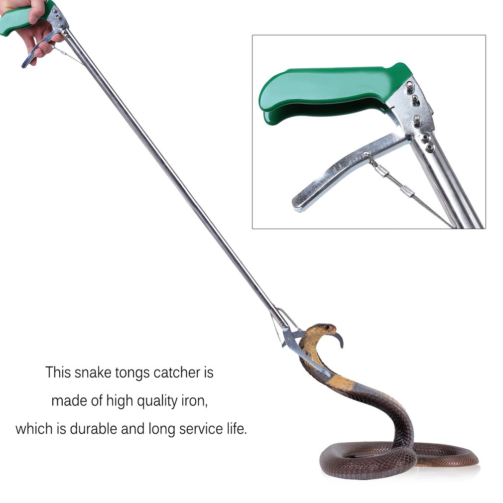 100cm Self-lock Anti-ski Handle Snake Tongs Stick Grabber Reptile Rattle Catcher Zigzag Wide Jaw Pick-up Handling Tool by LESHP