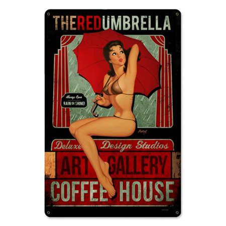 Baron Von Lind BVL046 12 x 18 in. Red Umbrella Coffee Metal Sign - image 1 of 1
