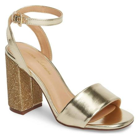 Lauren Lorraine Julia Gold Sandal 3.75 High Heel Mesh Crystal Embellished Dress Pumps - Gold (Mesh Puma Shoes)