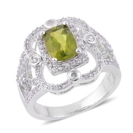 925 Sterling Silver Platinum Plated Cushion Vesuvianite White Zircon Solitaire Gift Ring Cttw 3.1