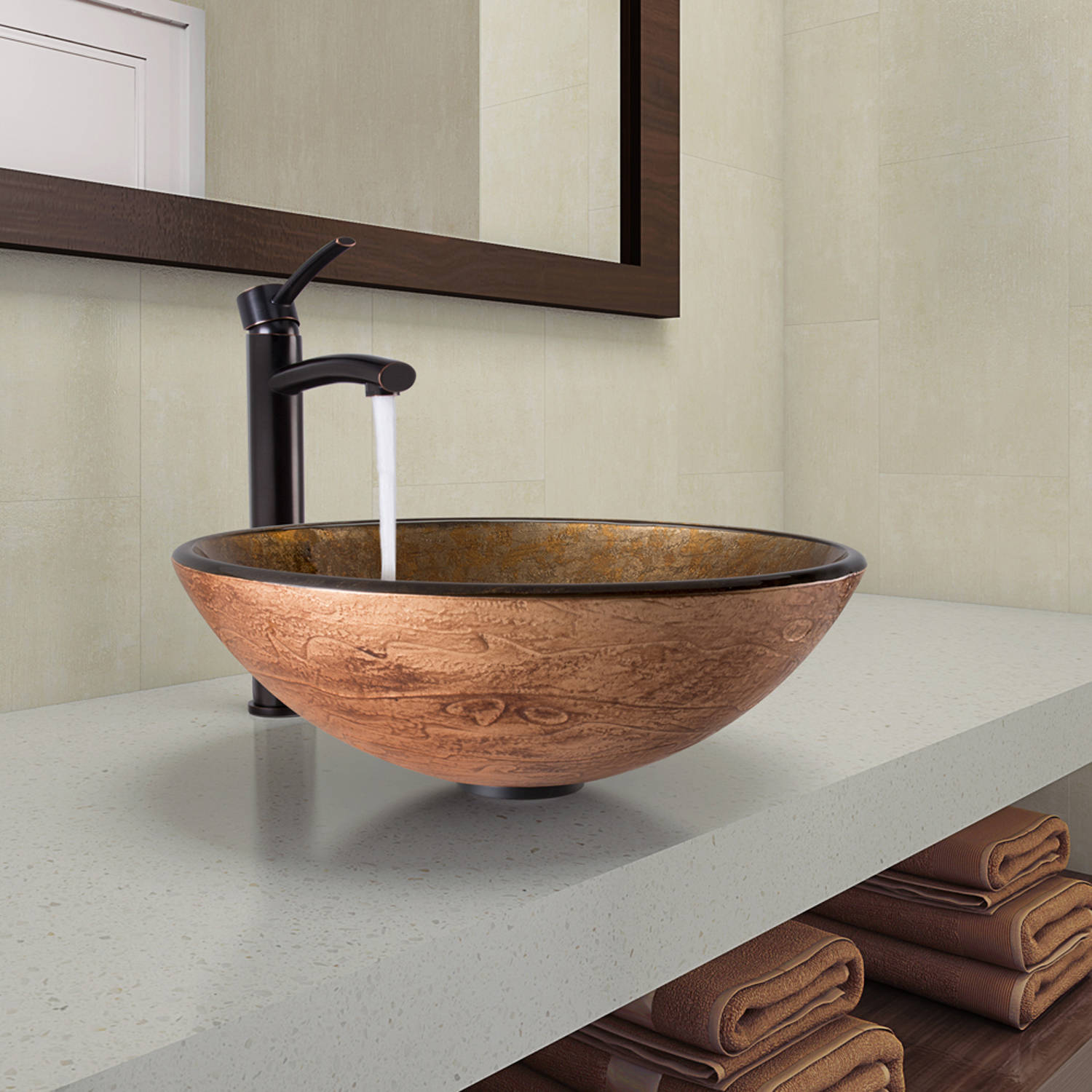 Vigo  Cappuccino Swirl Glass Vessel Bathroom Sink and Milo Faucet Set in Antique Rubbed Bronze Finish