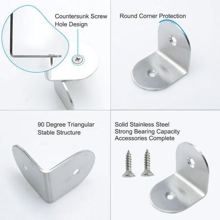 Right Angle Bracket Stainless Steel Brace Fastener Support w Screw 40x40mm, 8pcs - image 2 de 7