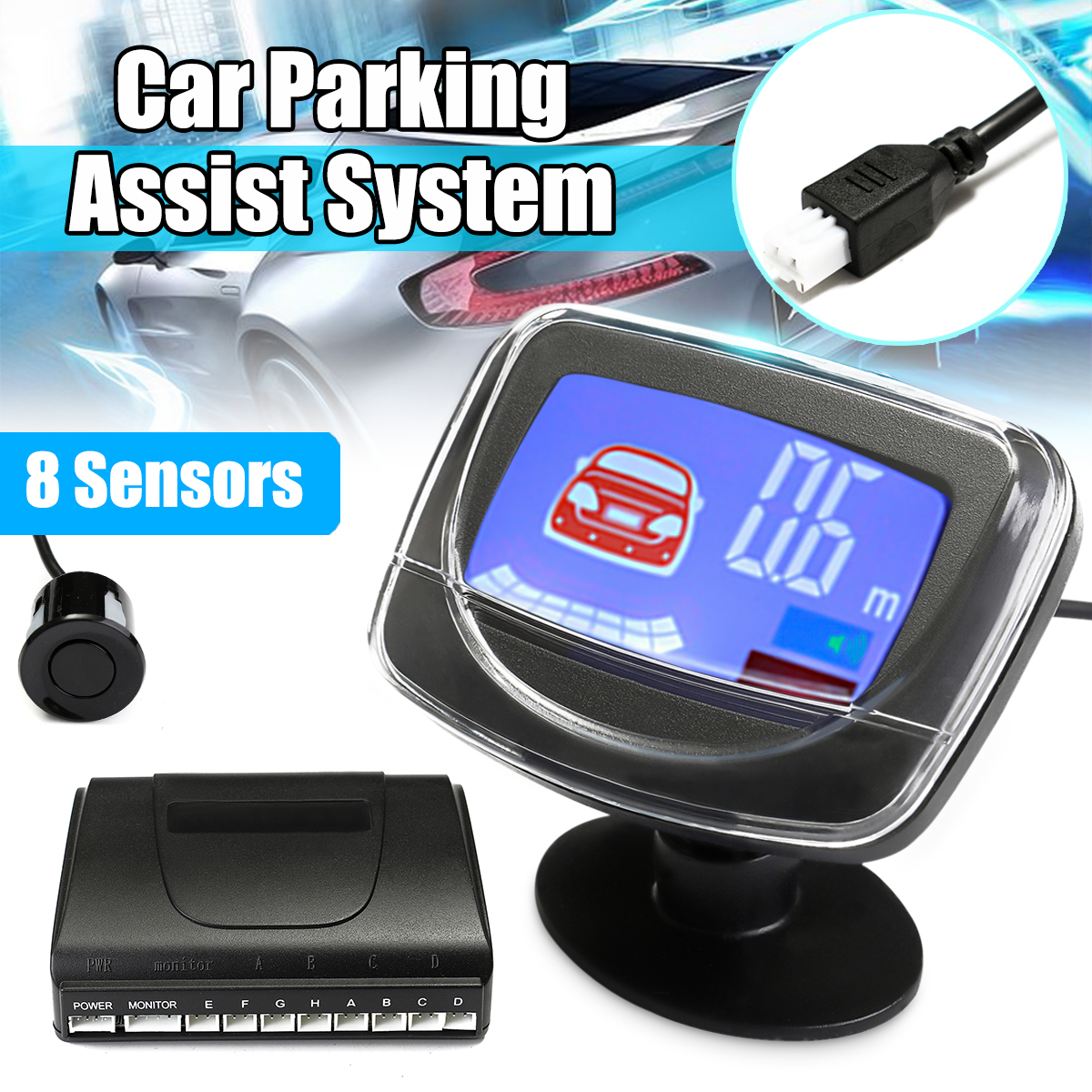 8 Parking Sensors Car Rear View Reverse Backup Front  LCD  Display Radar System Tools Accessories
