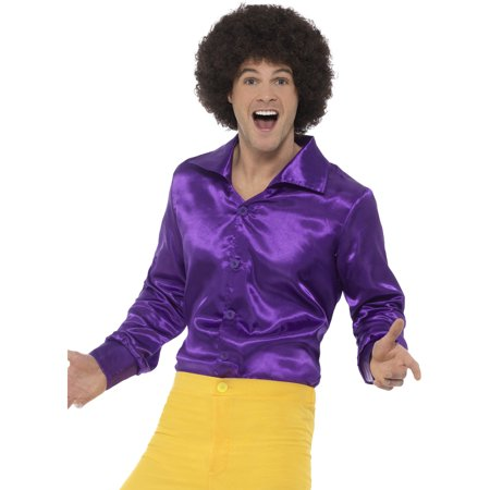 Mens 60s 70s Groovy Dude Purple Disco Shirt Costume