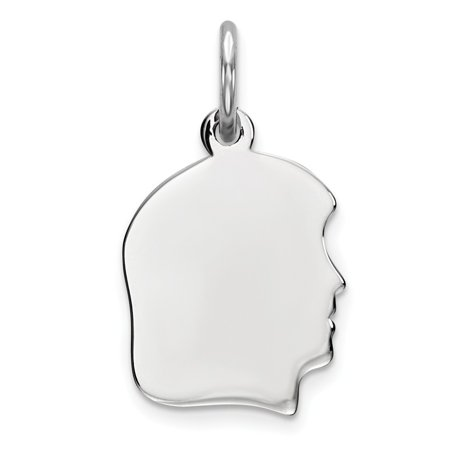 Sterling Silver Engravable Girl Polished on Front and Back Disc Charm Pendant