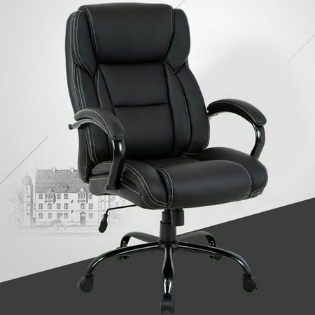 High-Back Big And Tall Office Chair, Ergonomic PU Desk Task Executive Chair Rolling Swivel Chair Adjustable Computer Chair With Lumbar Support Headrest Leather Chair For Women, Men (Black) ()