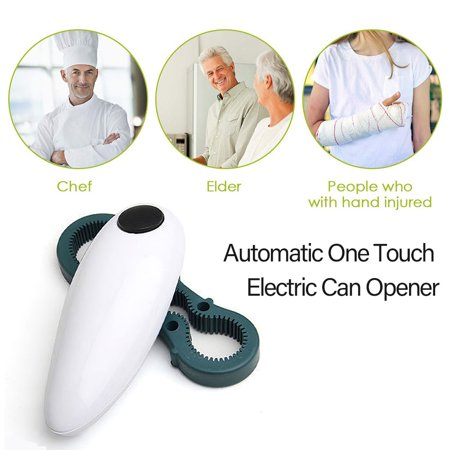 Automatic One Touch Electric Can Opener for Hands Free Easy Weak Hands Children and Seniors Kitchen Tool with Jar Beer Bottle Opener ()