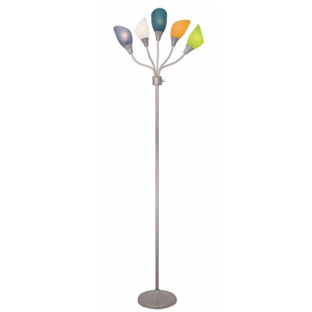 Light Accents Medusa Silver Floor Lamp with Multicolor Acrylic Shades by