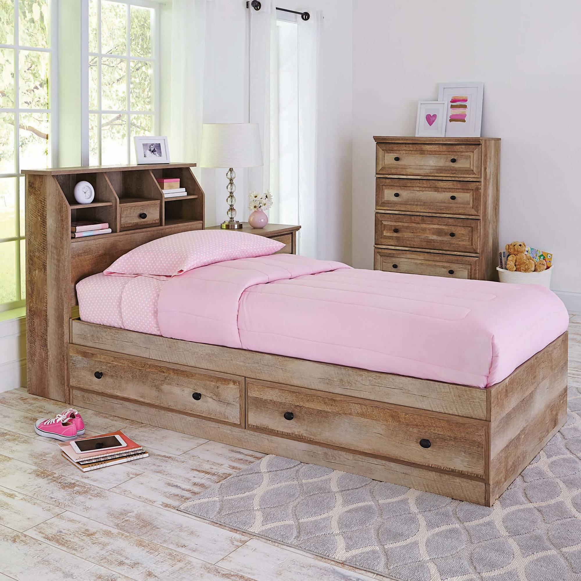 Better Homes And Gardens Crossmill Mates Twin Bed With Storage, Weathered  Finish   Walmart.com Design Ideas