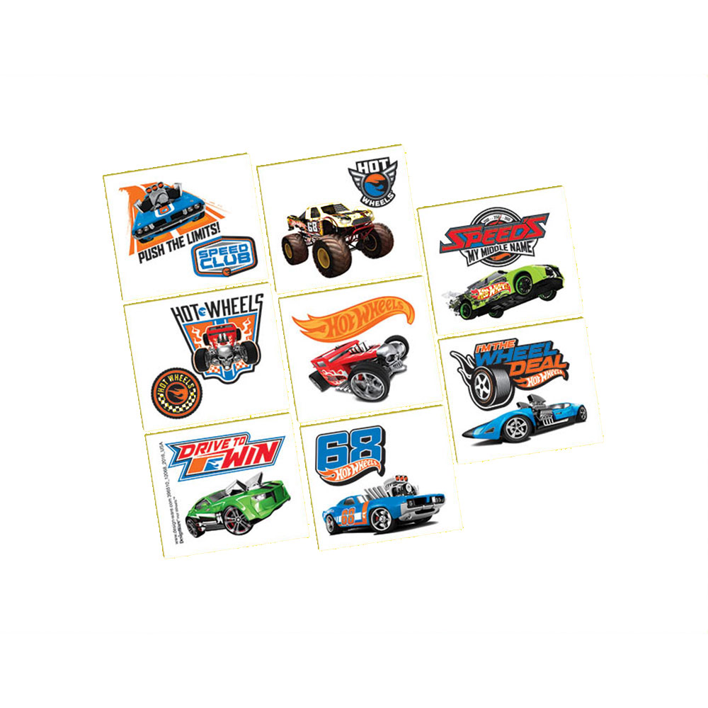 Hot Wheels Wild Racer Tattoos (16 Tattoos) - Party Supplies