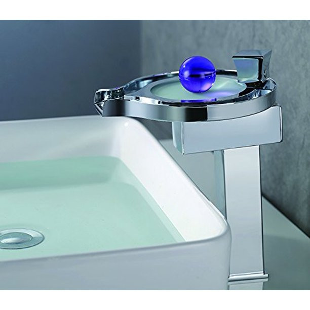 Cascada Color Changing Led Waterfall Bathroom Sink Faucet Chrome Finish Hdd727h Walmart Com Walmart Com