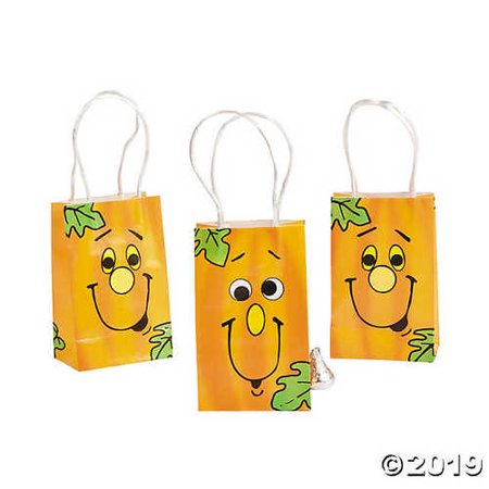 Dozen Mini Halloween Happy Pumpkin Bags - Halloween Crafts Paper Bag Pumpkin