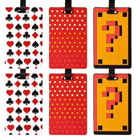 6 pc Silicone Mixed Design Luggage Bag Tag - Design Luggage Tag Set