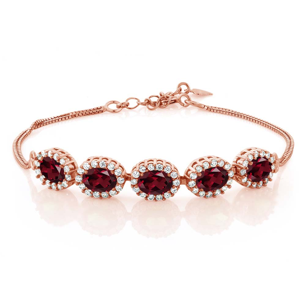 5.54 Ct Oval Red Rhodolite Garnet 18K Rose Gold Plated Silver Bracelet by