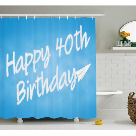 40th Birthday Decorations Shower Curtain Celebration Theme Clouds In Blue Sky And Paper Plane Flying Print Fabric Bathroom Set With Hooks