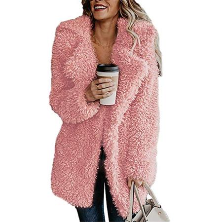 Women's Thick Warm Teddy Bear Jacket Lapel Fleece Fuzzy Faux Oversized Jackets Coat Overcoat ()