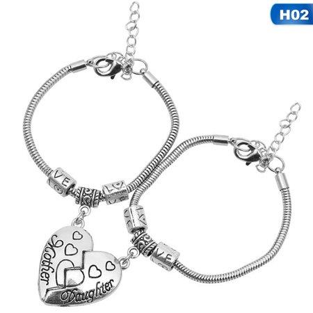 Fancyleo 1 Pair Family Love Mother Daughter Bracelet No Matter Where Broken Heart Charms Gift For Mom Women Girl Chain Bangle (Momo Sunglasses)