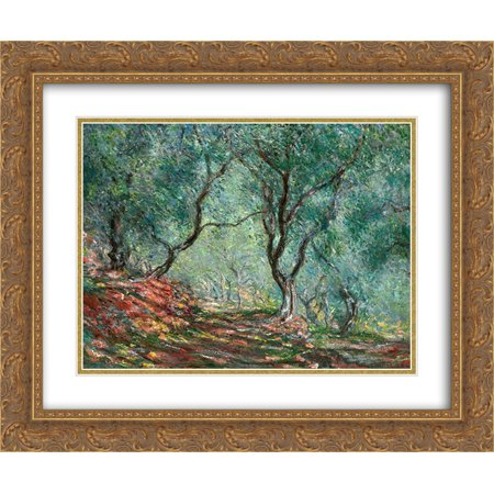 Claude Monet 2x Matted 24x20 Gold Ornate Framed Art Print 'Olive Tree Wood in the Moreno Garden' - Olive Tree Wood