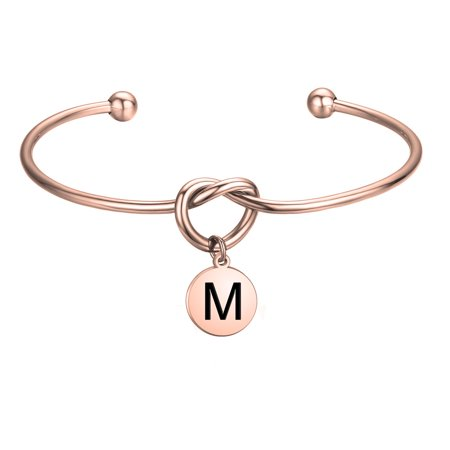 Love Knot with Round Disc Engraved Initial Bangle Bracelet,Bridesmaid Gift,Personalized Gift for Women Girl Bridesmaid Jewelry(M) - Cute Bridesmaid Gifts