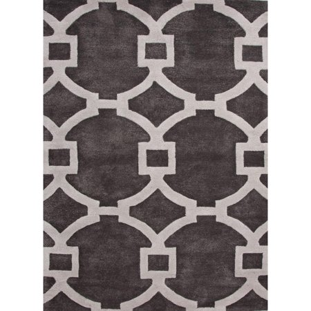 ced0574d87a 8  x 11  Slate Gray and Ivory Modern Regency Hand Tufted Wool and Art Silk  Area Throw Rug - Walmart.com