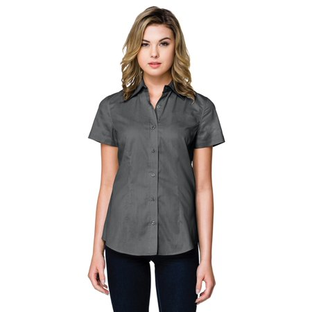Tri-Mountain Women's Flattering Fit Brushed twill Woven - Twill Snap Shirt