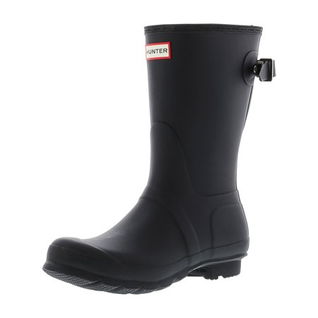 Hunter Women's Original Back Adjust Short Black Mid-Calf Rubber Rain Boot - 6M
