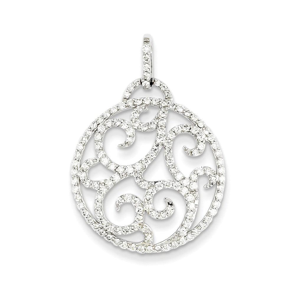 14k White Gold Fancy Diamond Pendant. Carat Wt- 1.05ct