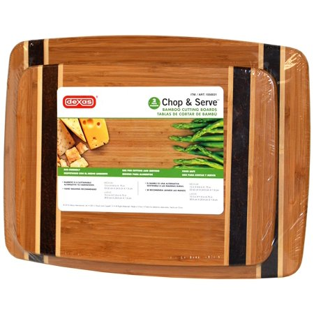 Dexas Chop & Serve Bamboo Cutting Boards, 2 Pack
