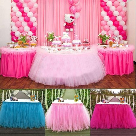 Tulle TUTU Table Skirt Tableware Wedding Party Xmas Baby Shower Birthday Decor - Raffia Table Skirts
