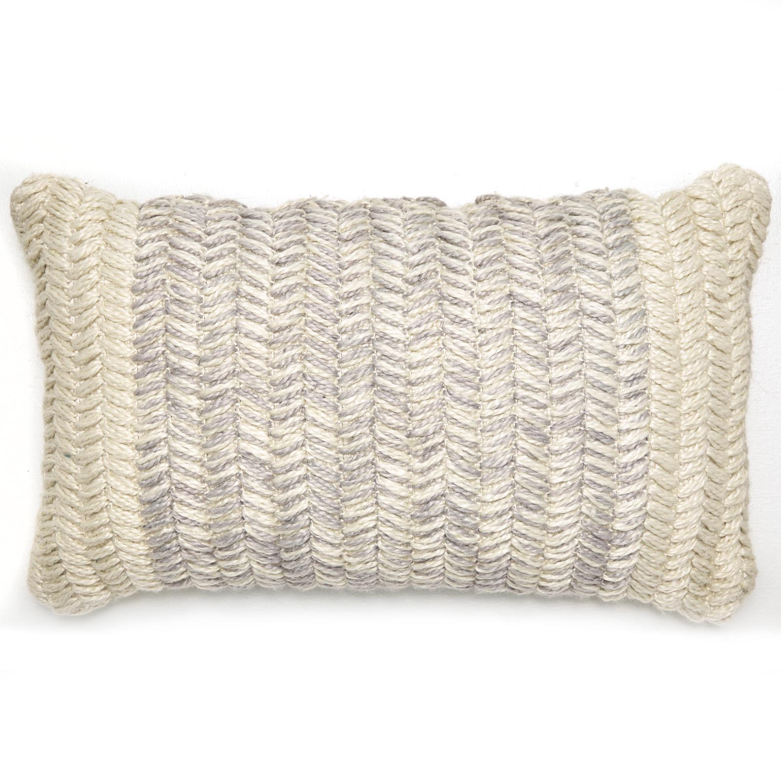 MoDRN Braided Texture Lumbar Outdoor Throw Pillow - Grey 14 in. x 24 in.