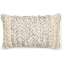 MoDRN Braided Texture Lumbar Outdoor Throw Pillow, Gray