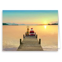 Santa on the Dock - Holiday Christmas Cards - 18 Cards and 19 Envelopes