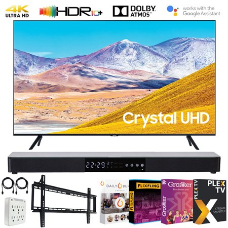 "Samsung UN55TU8000 55-inch 4K Ultra HD Smart LED TV (2020 Model) Bundle with 31-in Sound bar+Wall Mount+Tech Smart USA TV Essentials 2020 & Surge Adapter (UN55TU8000FXZA 55TU8000 55"" TV)"