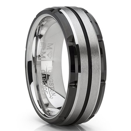 Men S Tungsten Carbide Wedding Band Flat Top Brushed Two Tone