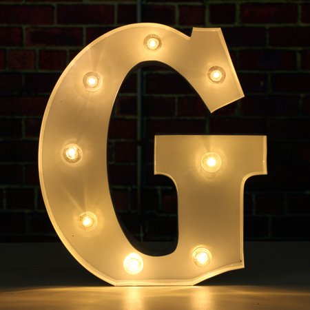 9'' Metal Decorative LED Letter Marquee Sign Alphabet Marquee Letters with Lights Letter G For Wedding Birthday Party Christmas Home Decor