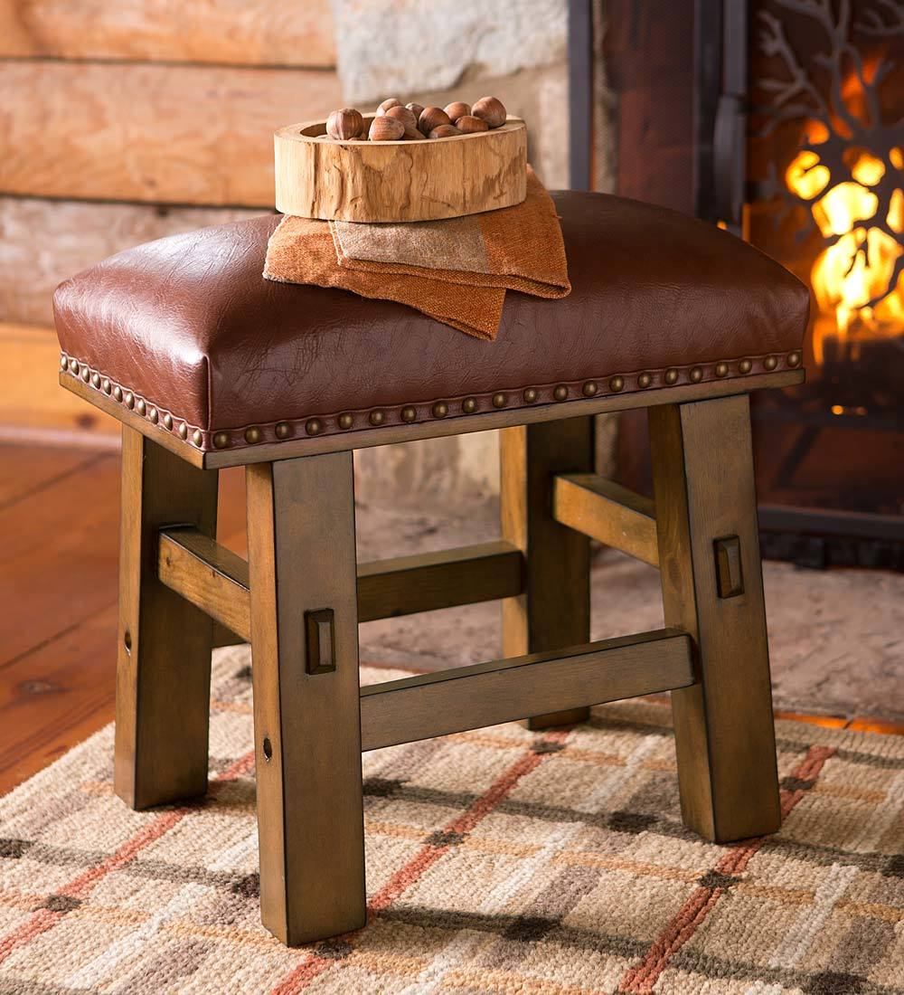 Canyon Versatile Rustic Leather Footstool with Nail-head Trim by Plow & Hearth