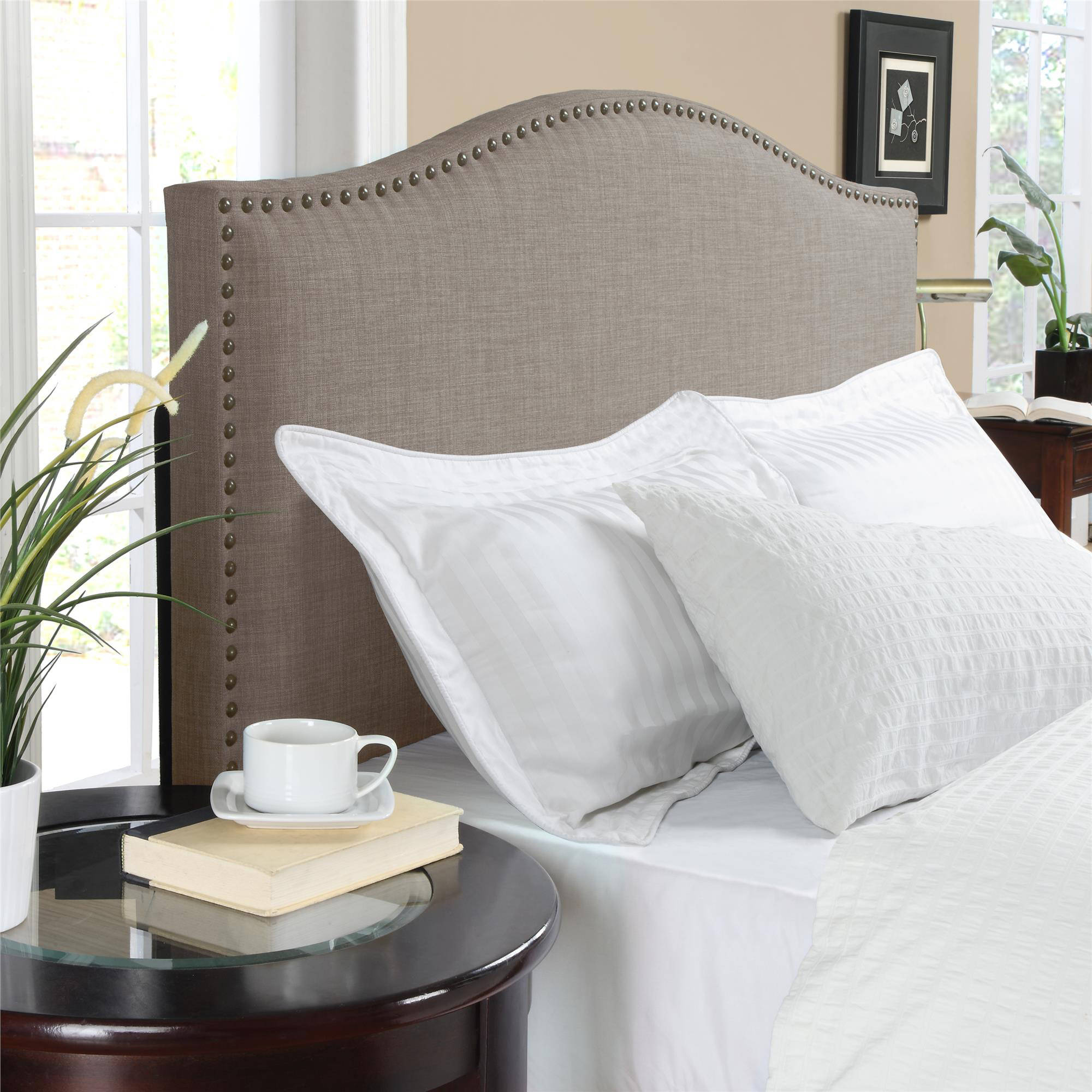 Better Homes and Gardens Grayson Linen Upholstered Headboard with Nailheads, Multiple Colors