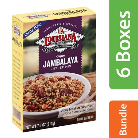 (6 Pack) Louisiana Entree Mix, Cajun Jambalaya, 7.5 oz - Halloween Food Entrees