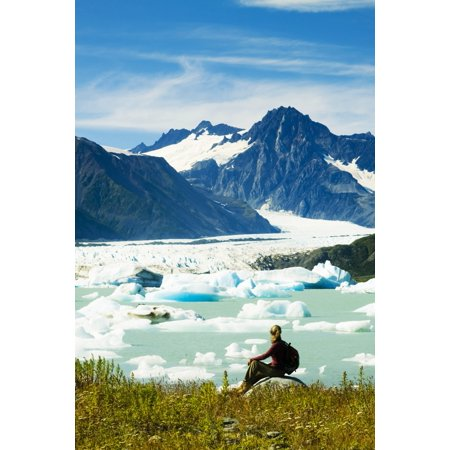 Female Hiker Pauses To View Bear Glacier From The Shore Of Bear Glacier Lake In Kenai Fjords National Park Kenai Peninsula Southcentral Alaska Summer Canvas Art - Michael DeYoung  Design Pics (11 x