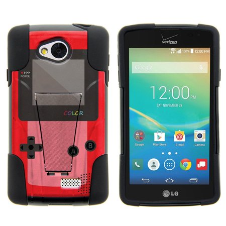 Lg Tribute  Lg Transpyre And Lg Optimus F60 Strike Impact Dual Layered Shock Resistant Case With Built In Kickstand By Miniturtle    Red Gameboy