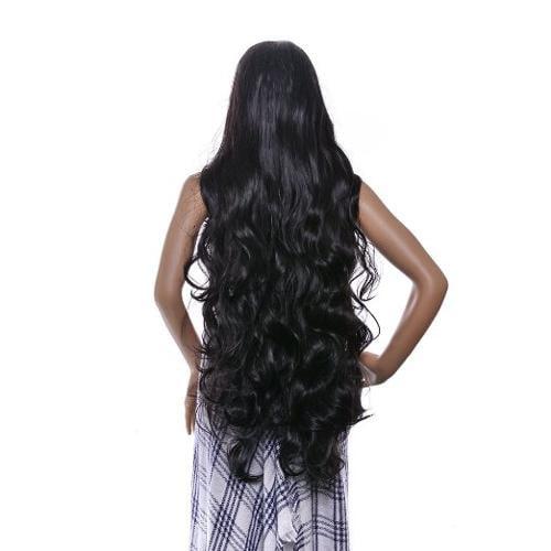 AGPtEK 40 Inches High Temperature Japanese Fiber Wig Long curly wave Lolita Cosplay Hair Heat Resistant Full Wig-Black